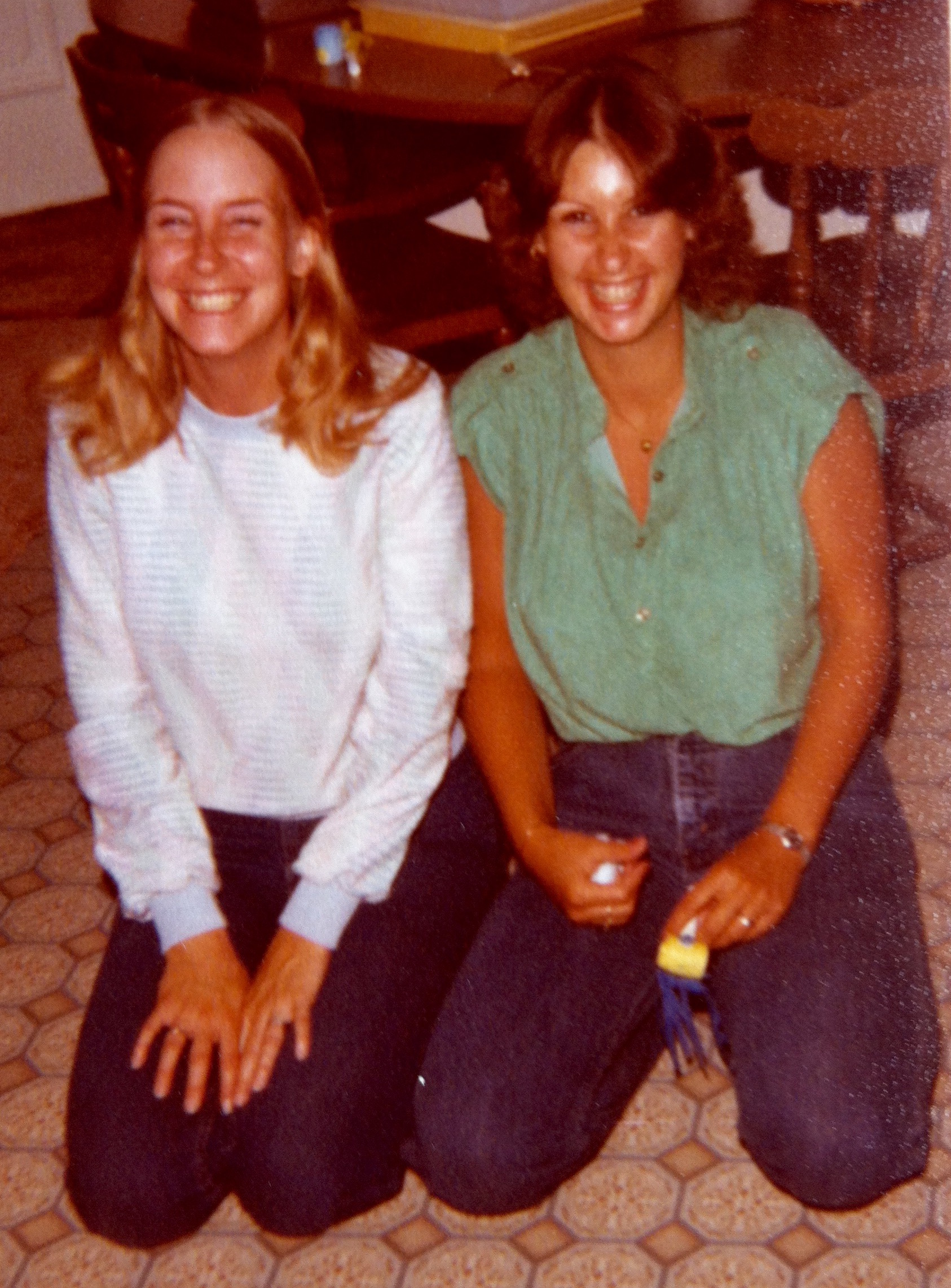 Super high, on life. Carpenters fans, my sisters Andrea and Beth. Circa 1977.
