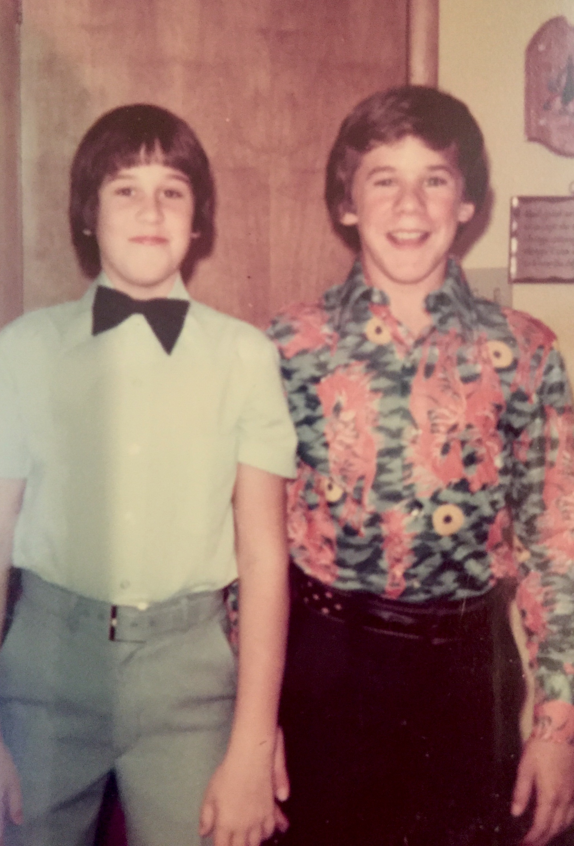 Preteen Sansabelt. With my much cooler, open-collared, neighborhood friend, Darren. I suppose that later, he danced with cute girls to a Carpenters song or two. Circa 1975.